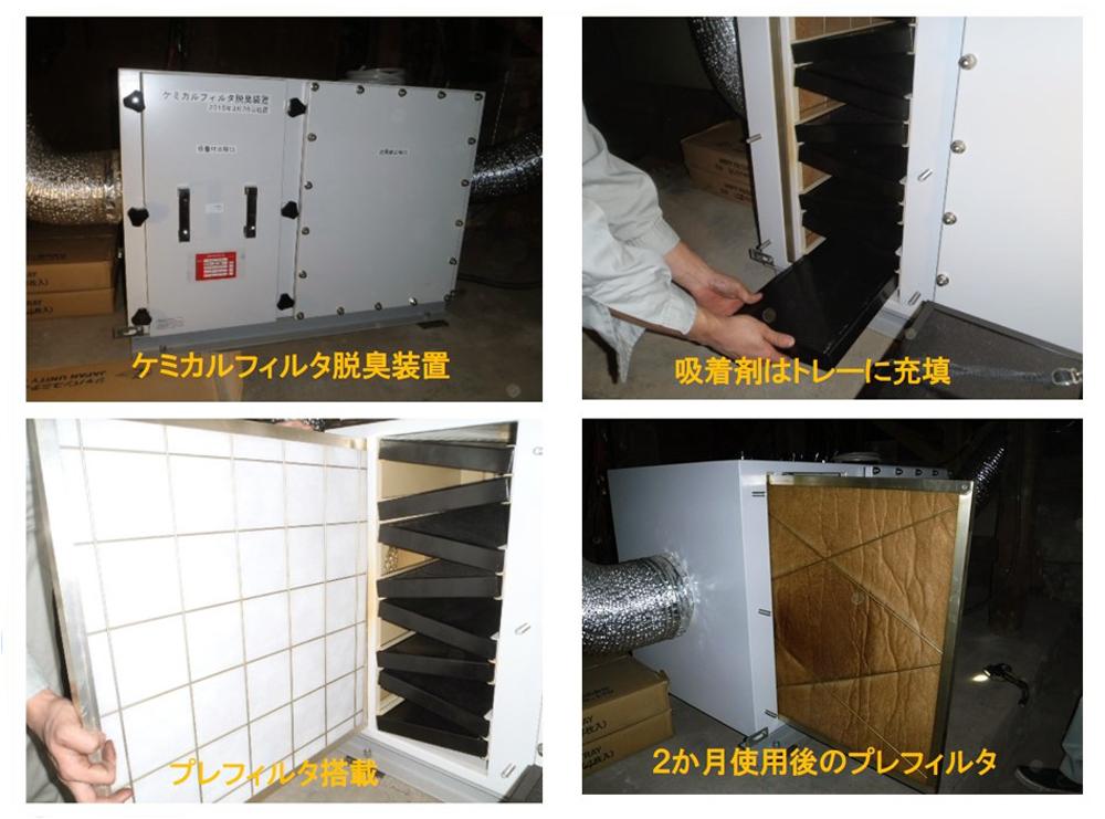 ケミカルフィルタ脱臭装置使用例